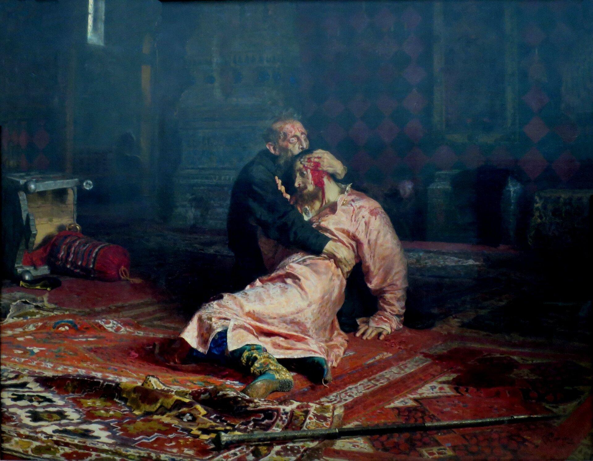 Car Iwan Groźny nad ciałemzabitego przez siebie syna Car Iwan Groźny nad ciałemzabitego przez siebie syna Źródło: Ilya Repin, 1885, olej na płótnie, Tretyakov Gallery, Moscow, domena publiczna.
