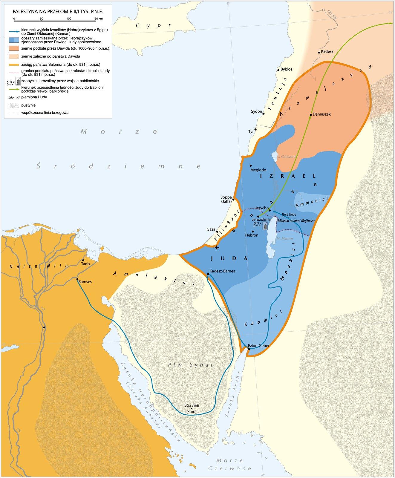 Palestyna na przełomie II/I tysiąclecia p.n.e. Palestyna na przełomie II/I tysiąclecia p.n.e. Źródło: Krystian Chariza izespół, licencja: CC BY 3.0.