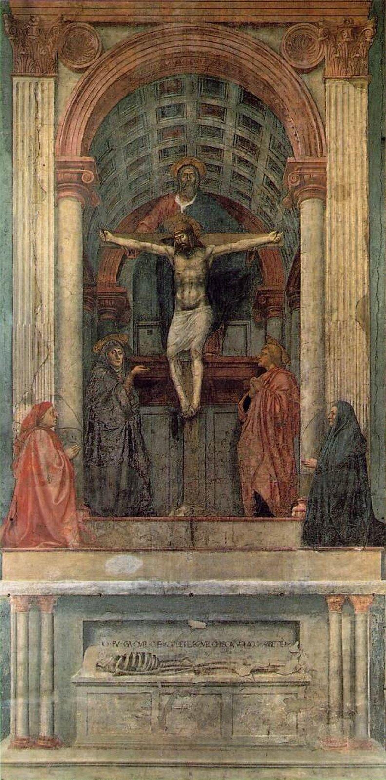 """Ilustracja przedstawia obraz pt. """"Trójca Święta"""" autorstwa Masaccio. Obraz powstał około 1425 roku. Wcentralnym punkcie znajduje się ukrzyżowany Jezus Chrystus. Nad mężczyzną znajduje się postać Boga Ojca. Pomiędzy nimi widzimy Ducha Świętego wpostaci gołębicy. Po obu stronach Jezusa możemy dostrzec Marię oraz św. Jana. Poniżej sceny został przedstawiony sarkofag, który sprawia wrażenie, że scena odbywa się wkaplicy. Na sarkofagu widzimy szkielet Adama."""