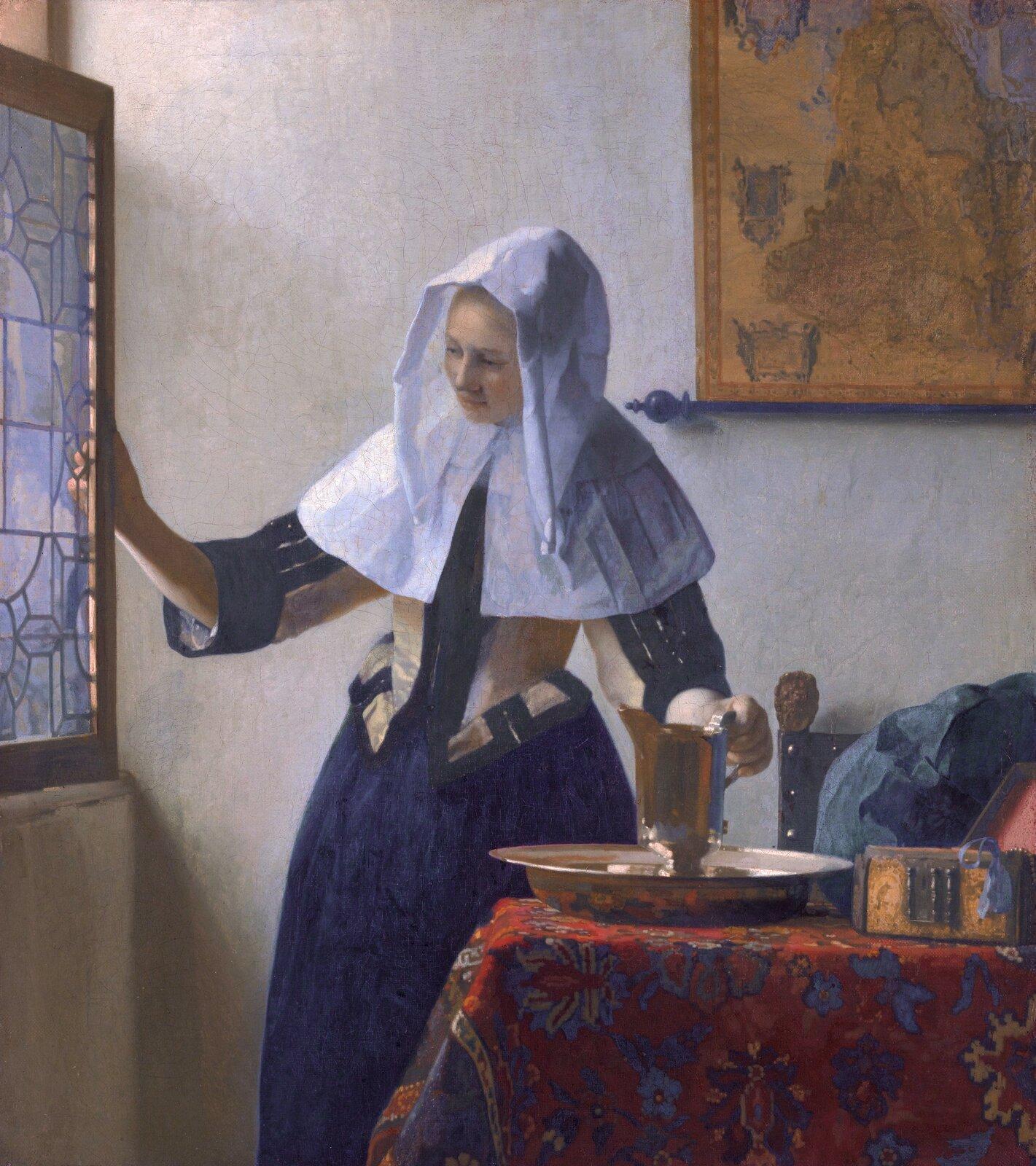 Młoda kobieta zdzbanem wody Źródło: Johannes Vermeer, Młoda kobieta zdzbanem wody, 1662-1665, olej na płótnie, Metropolitan Museum of Art, domena publiczna.