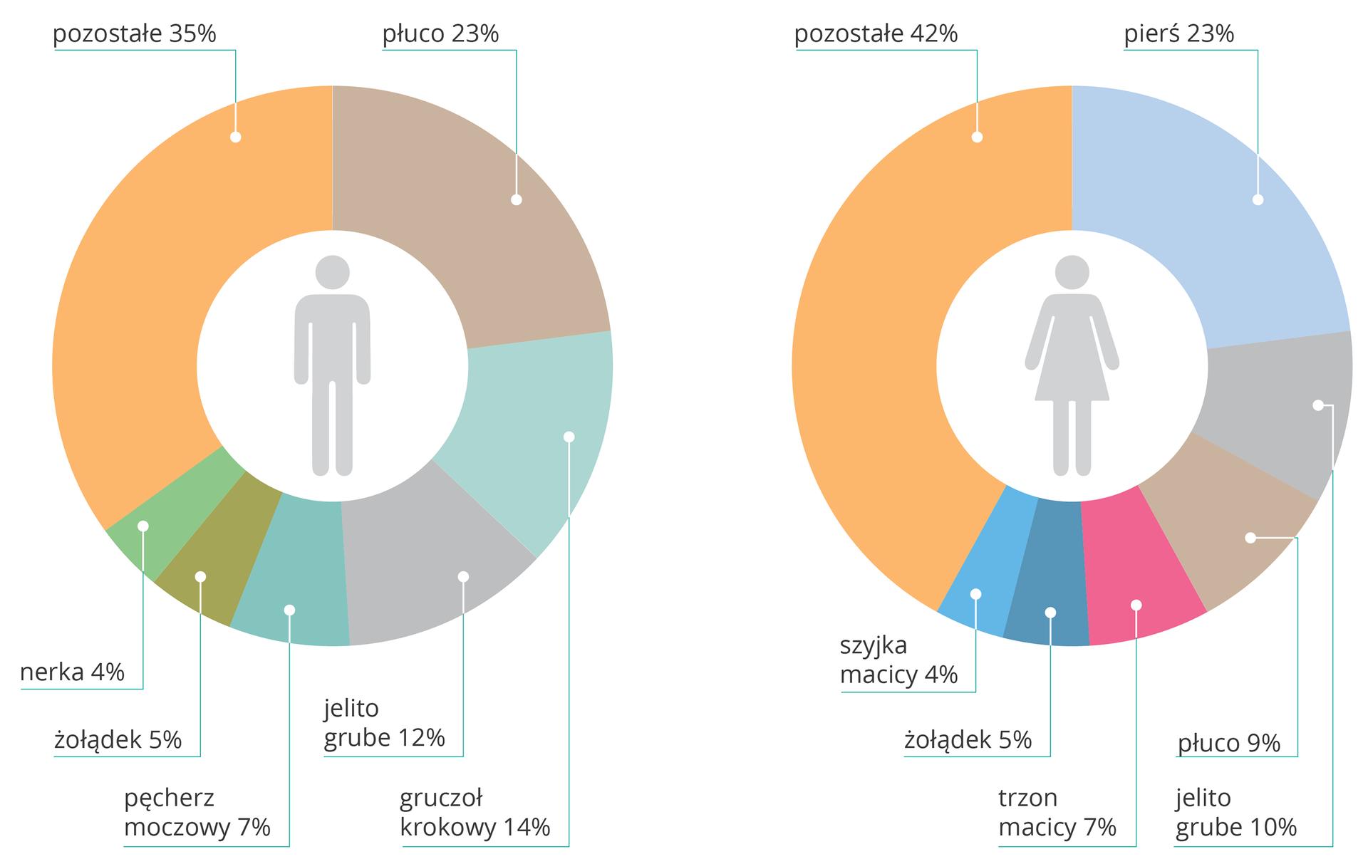 Ilustracja przedstawia dwa diagramy pierścieniowe. Diagram po lewej stronie dotyczy mężczyzn (w centrum sylwetka mężczyzny), diagram po prawej kobiet (w centrum sylwetka kobiety). Tymi samymi kolorami oznaczono występowanie nowotworów złośliwych poszczególnych narządów. Wielkość odcinków odpowiada procentowemu udziałowi nowotworów złośliwych wliczbie przyczyn zgonu. Umężczyzn największy udział, 23 procent, to rak płuc. Następnie rak gruczołu krokowego (14 procent) irak jelita grubego (12 procent). Ukobiet najczęstsze są: rak piersi (23 procent), rak jelita grubego (10 procent) irak płuc (9 procent).