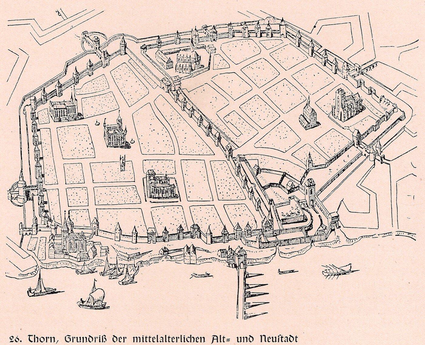Ilustracja przedstawia mapę miasta Toruń z1641 roku. Na mapie widać mury zwieżyczkami otaczające miasto. Mur biegnie również przez środek miasta. Zaznaczone są na mapie działki, na niektórych znajdują się budowle. Udołu planu znajduje się rzeka, którą płyną statki iłodzie.