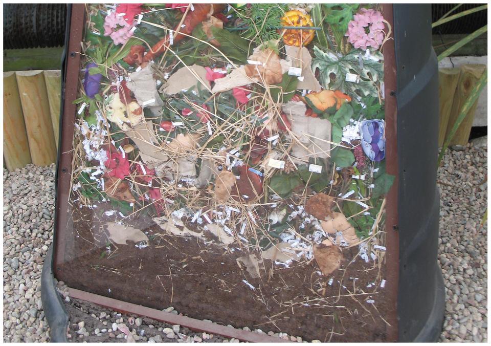 Fotografia przedstawia pojemnik zresztkami roślinnymi. Są tu kwiaty, liście, sucha trawa. Taki pojemnik to kompostownik. Wnim bakterie rozkładają resztki, wytwarzając naturalny nawóz, czyli kompost. Można go wykorzystać na działce ina polu.