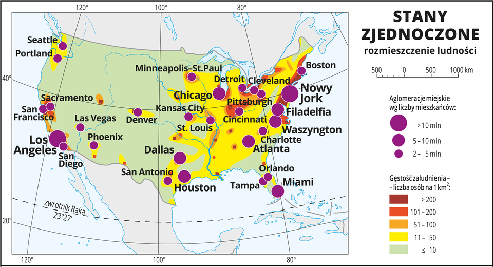 Ilustracja przedstawia mapę rozmieszczenia ludności wStanach Zjednoczonych Ameryki Północnej. Kolorami od zielonego (w przewadze) przez żółty ipomarańczowy do czerwonego ibrunatnego przedstawiono gęstość zaludnienia. Na wschodnich wybrzeżach przeważa kolor żółty (jedenaście do pięćdziesięciu osób na jeden kilometr kwadratowy). Wokół miast, które też przeważnie skupione są wtym rejonie – kolor pomarańczowy do brunatnego oznaczający dużą gęstość zaludnienia powyżej pięćdziesięciu osób na kilometr kwadratowy. Na mapie różnej wielkości sygnatury (koła) obrazujące aglomeracje miejskie wg liczby mieszkańców: Nowy Jork, Los Angeles– powyżej dziesięciu milionów mieszkańców. Houston, Atlanta, Chicago, Waszyngton, Filadelfia, Miami – od pięciu do dziesięciu milionów mieszkańców. Kilkanaście mniejszych sygnatur oznaczających miasta oliczbie mieszkańców od dwóch do pięciu milionów mieszkańców. Dookoła mapy wbiałej ramce opisano współrzędne geograficzne co dwadzieścia stopni. Wlegendzie umieszczono iopisano kolory iznaki użyte na mapie.
