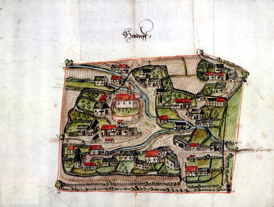 Widok niemieckiejwsi Heudorf wXVI wieku Widok niemieckiejwsi Heudorf wXVI wieku Źródło: domena publiczna.