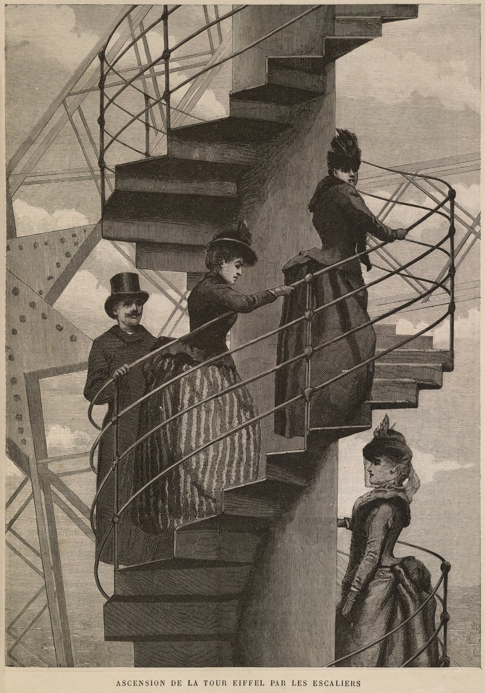 Wspinaczka po schodach na wieżę Eiffla Źródło: Wspinaczka po schodach na wieżę Eiffla, 1889, grawerunek, Brown University Library, domena publiczna.