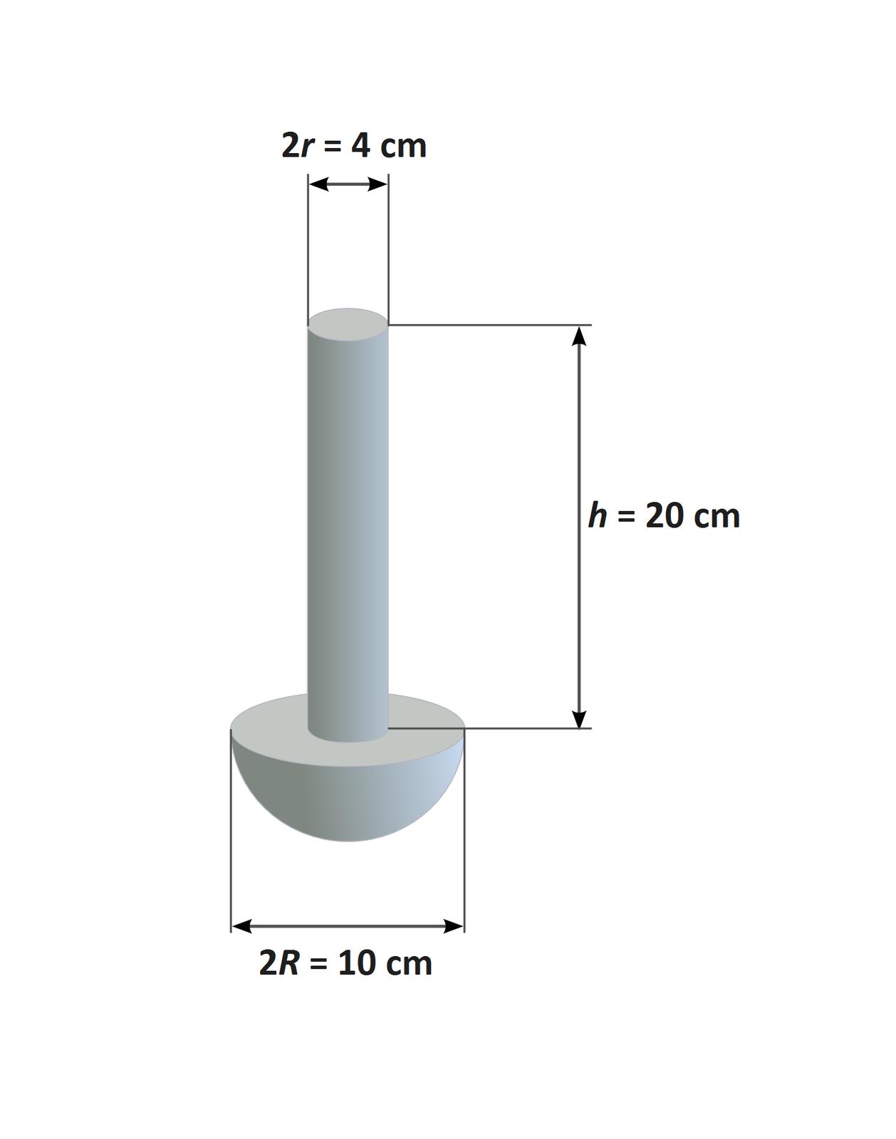 Ilustracja przedstawia bryłę. Tło białe. Bryła szara, wyglądem przypominająca śrubę. Bryła składa się zwalca ipółkuli. Walec stoi pośrodku płaskiej części półkuli. Na ilustracji zaznaczono wymiary tak powstałej bryły. Średnica podstawy walca: 2r = 4 cm. Wysokość walca: h= 20 cm. Średnica półkuli: 2R = 10 cm.