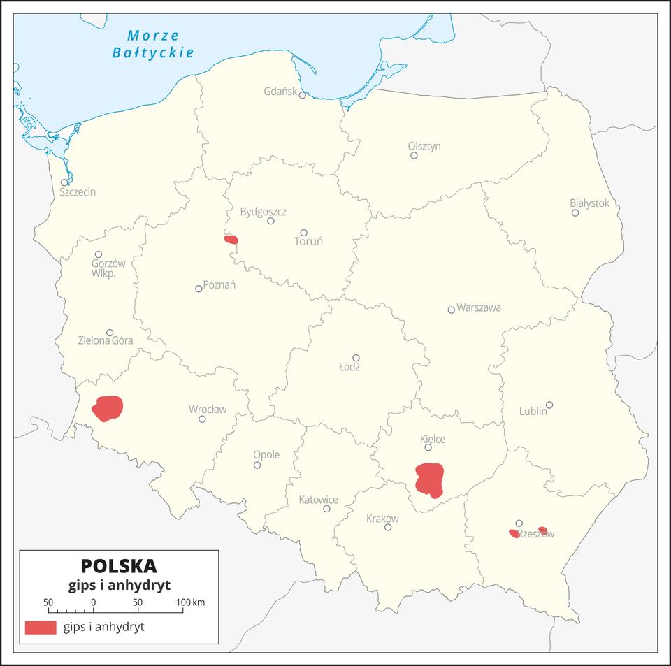Rozmieszczenie złóż gipsu ianhydrytu na terenie Polski