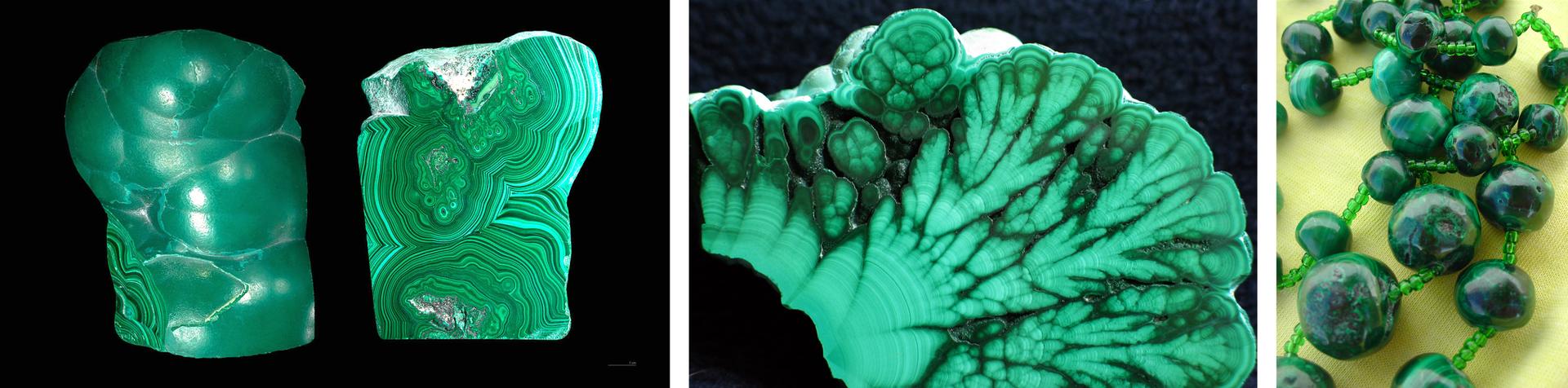 Trzecia ilustracja wgalerii. Składa się ztrzech sąsiadujących ze sobą zdjęć, przedstawiających malachit, zielony minerał używany wjubilerstwie iarchitekturze. Pierwsze zdjęcie po lewej stronie przedstawia kawałek malachitu ogładkiej, nieregularnej powierzchni zdominującymi fragmentami kulistymi, oraz drugą, płaską stronę tego samego kawałka, stanowiącą jego przekrój. Widoczne jaśniejsze iciemniejsze zielone warstwy tworzące skomplikowany wzór koncentrujący się wokół trzech ośrodków. Środkowe zdjęcie przedstawia przekrój przez większy kawałek minerału, gdzie jaśniejsze iciemniejsze obszary tworzą wzór przywodzący na myśl rośliny. Na trzecim zdjęciu, po prawej stronie naszyjnik zwiększych imniejszych malachitowych kulek.