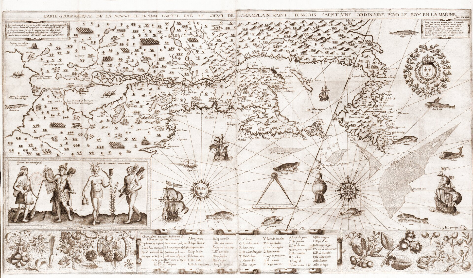 Tereny odkryte przez Champlaina Źródło: Samuel de Champlain, Tereny odkryte przez Champlaina, domena publiczna.