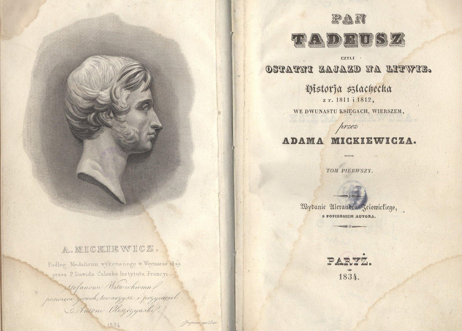 pierwodruk Pana Tadeusza pierwodruk Pana Tadeusza Źródło: 1834, domena publiczna.