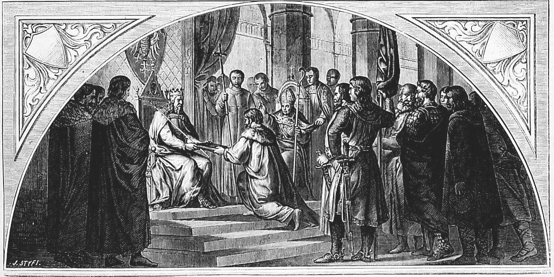 Ilustracja przedstawiająca moment nadania statutu wiślickiego przez Kazimierza Wielkiego. Kazimierz Wielki siedzi na tronie, wokół niego stoją ludzie, obok siedzi kapłan. Król wręcza postaci księgę.
