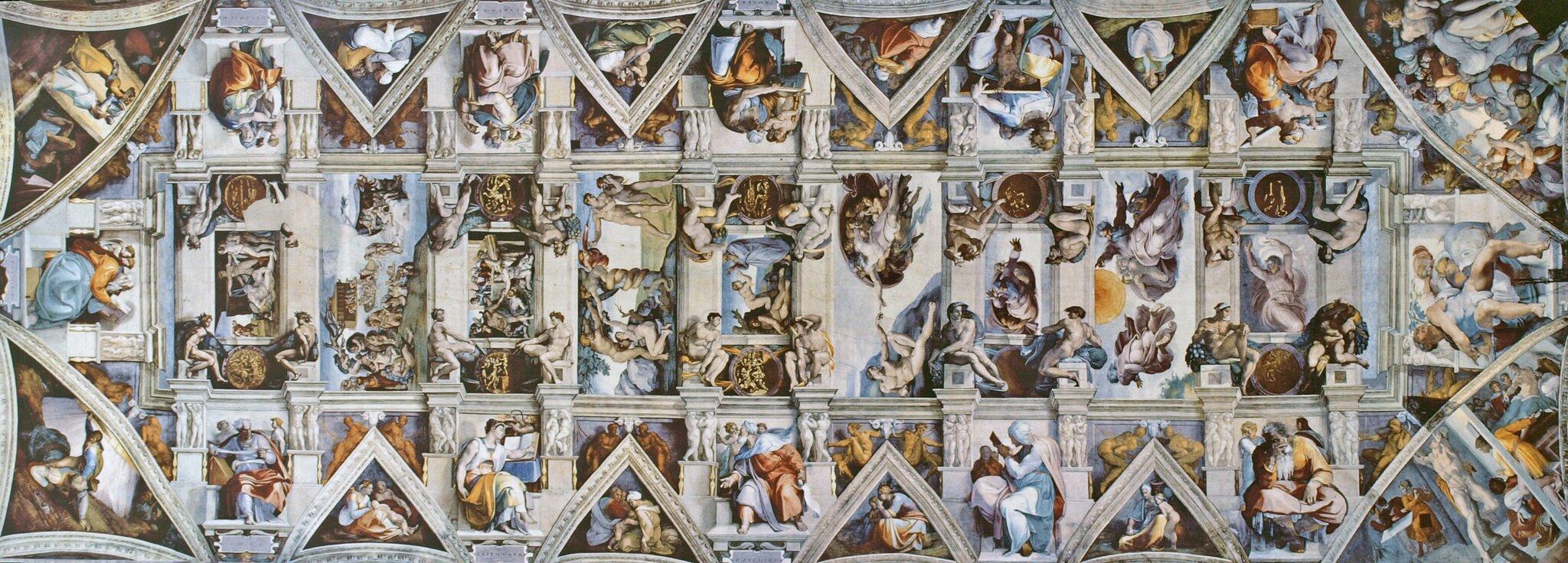 Freski na suficie Kaplicy Sykstyńskiej wWatykanie Freski na suficie Kaplicy Sykstyńskiej wWatykanie Źródło: Michał Anioł, zdjęcie: Qypchak, licencja: CC BY-SA 3.0.