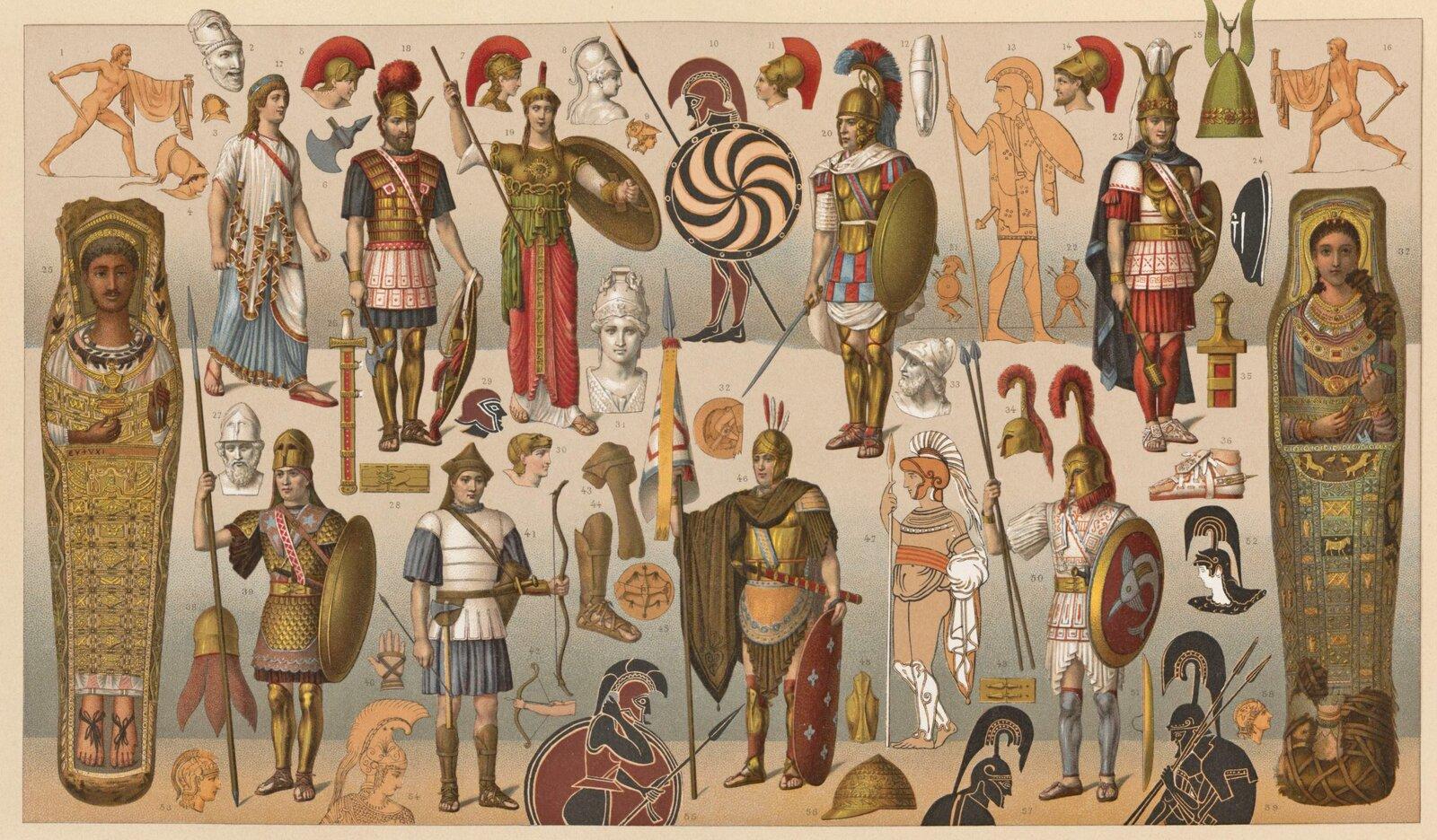 Greccy wojownicy Greccy wojownicy Źródło: Albert Racinet, 1888, domena publiczna.