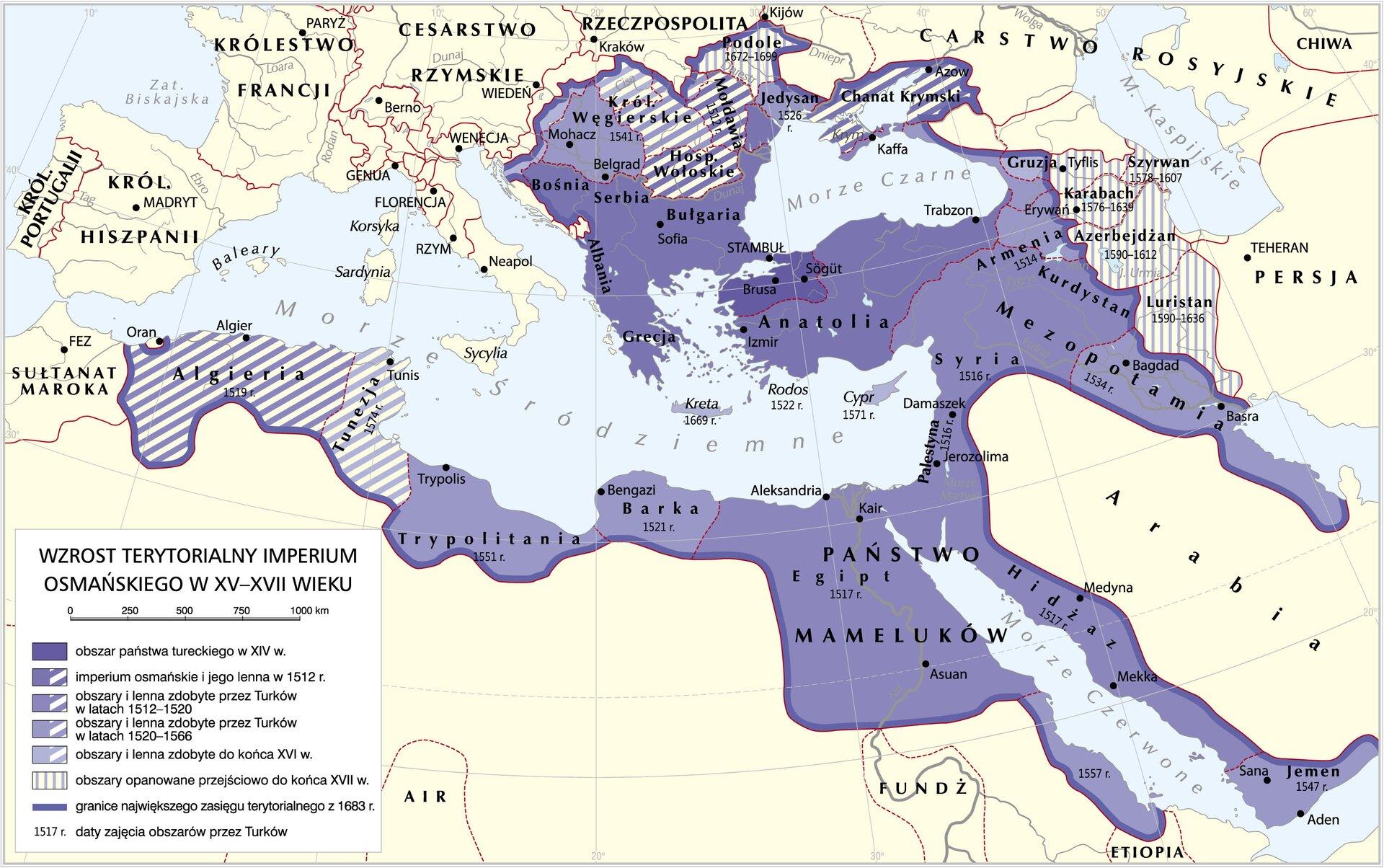 Wzrost terytorialny Imperium Osmańskiego wXV iXVI w. Wzrost terytorialny Imperium Osmańskiego wXV iXVI w. Źródło: Krystian Chariza izespół, licencja: CC BY-SA 3.0.