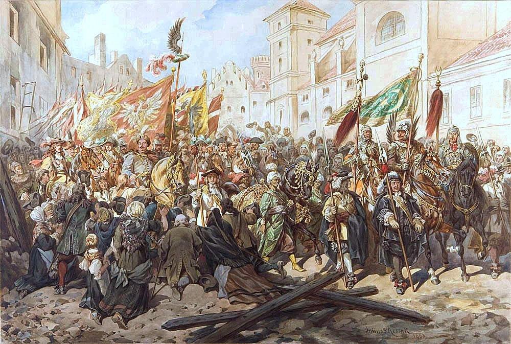 Obraz przedstawia uroczysty wjazd Jana III Sobieskiego do Wiednia. Widac majestatyczna postac króla wotoczeniu żołnierzy ipostacie klęczących ludzi