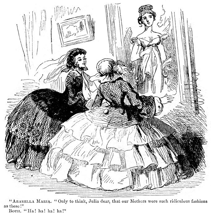 """Korowód pokoleń ARABELLA MARIA: """"Only to think, Julia dear, thatour Mothers wore such ridiculous fashions as these!"""" [Tylko pomyśl, droga Julio, że nasze matki ubierały się tak dziwnie…]OBIE: """"Ha! ha! ha! ha!"""" Źródło: Korowód pokoleń, 1857, rysunek satyryczny, domena publiczna."""