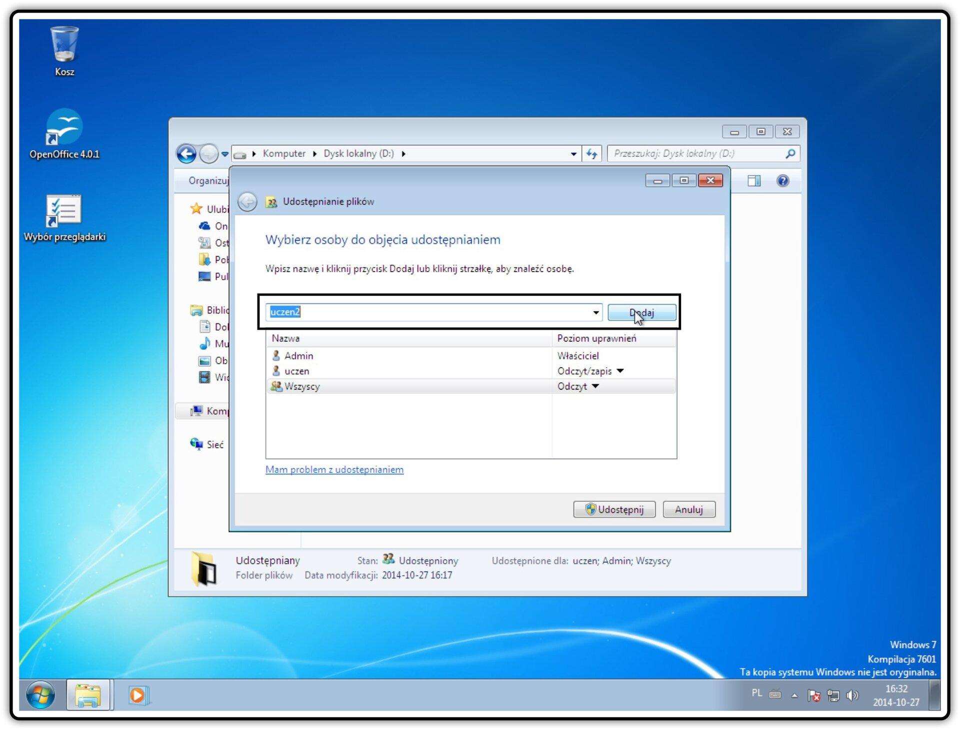 Ilustracja przedstawiająca: Krok 1 udostępniania zasobów wybranym użytkownikom sieciowych wsystemie Window