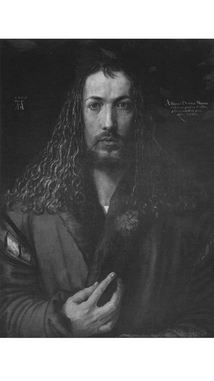 Obraz przedstawia mężczyznę en face. Jego prawa dłoń położona jest na klatce piersiowej, apalce wskazują na serce. Długie, falowane włosy mężczyzny opadają na ramiona.