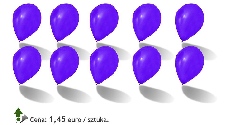 Rysunek dziesięciu balonów. Cena:1,45 euro za sztukę.