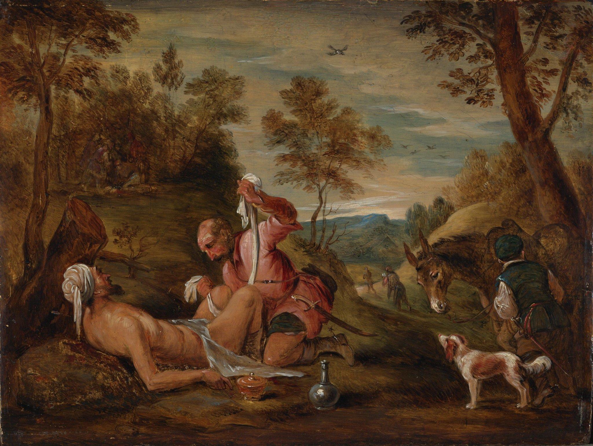 Dobry Samarytanin (według Jacopo Bassano) Źródło: David Teniers Młodszy, Dobry Samarytanin (według Jacopo Bassano), 1650–1656, Courtauld Insitute of Art, Londyn, domena publiczna.