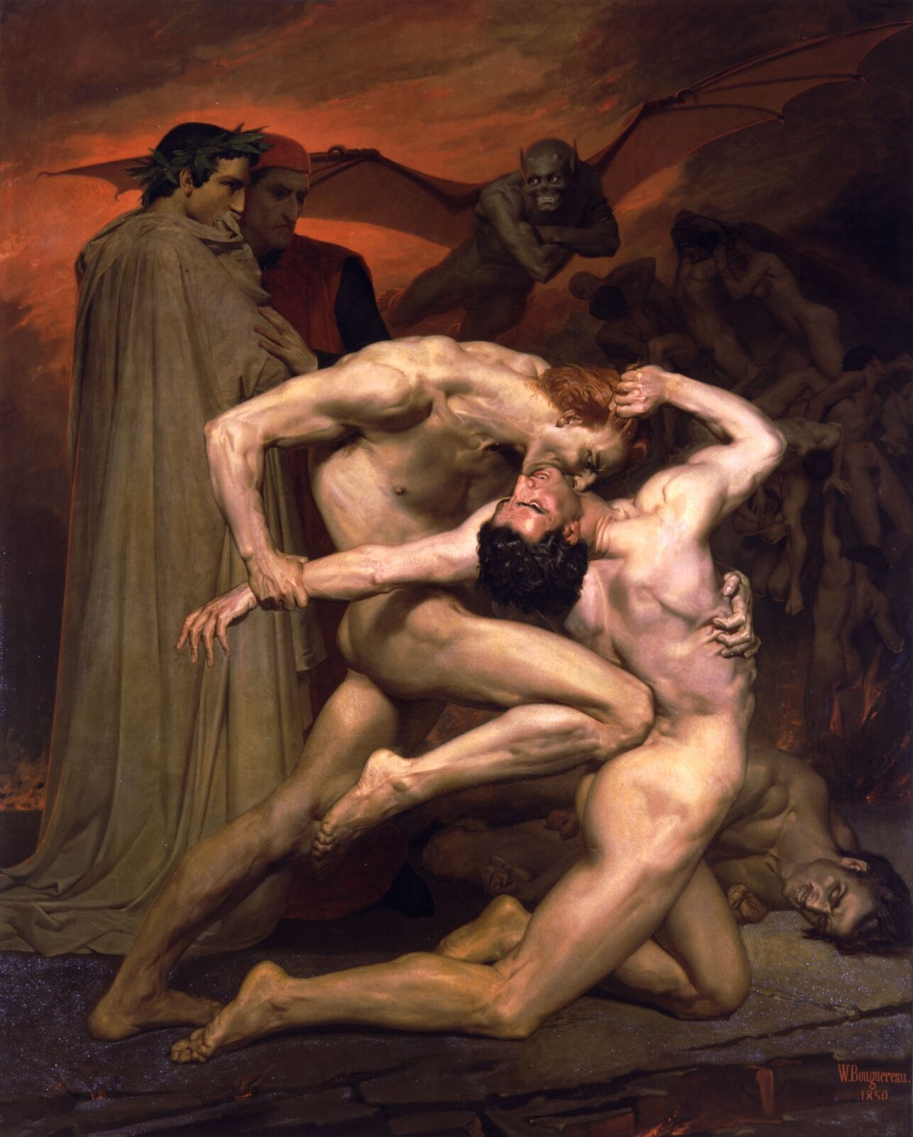 Dante iWergiliusz wpiekle Źródło: William-Adolphe Bouguereau, Dante iWergiliusz wpiekle, 1850, Musée d'Orsay, Paryż, domena publiczna.