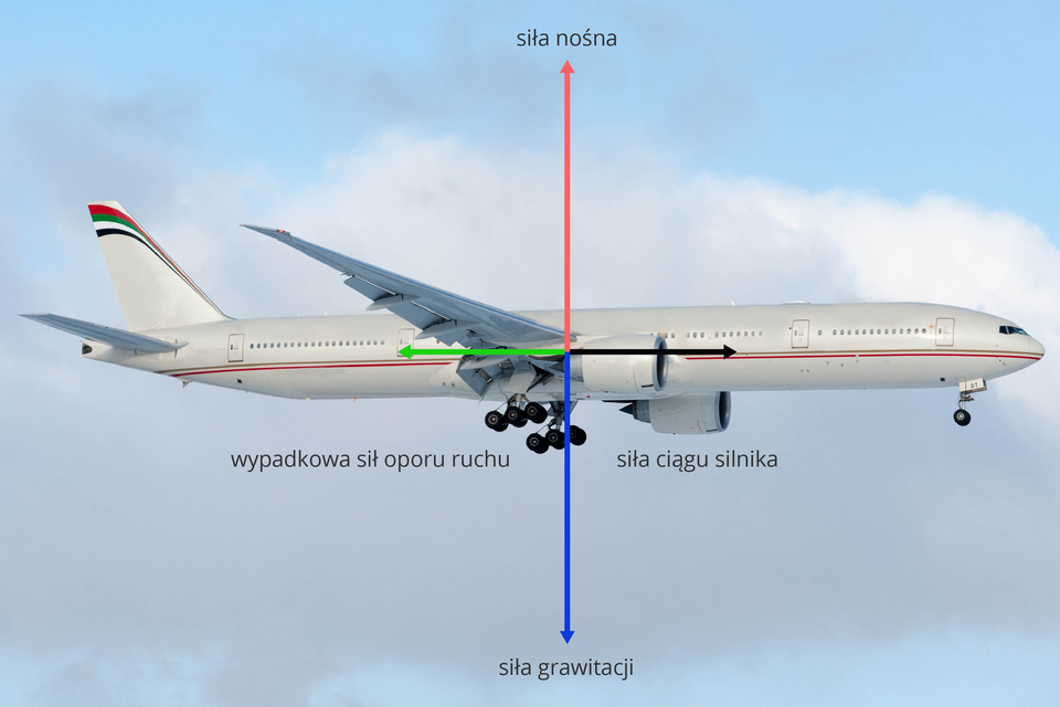 Zdjęcie samolotu wlocie idwie siły wpostaci wektorów przyłożone do środka samolotu, pionowe, zprzeciwnymi zwrotami, równymi długościami oraz dwie siły wpostaci wektorów przyłożone do środka samolotu, poziome, zprzeciwnymi zwrotami, równymi długościami.