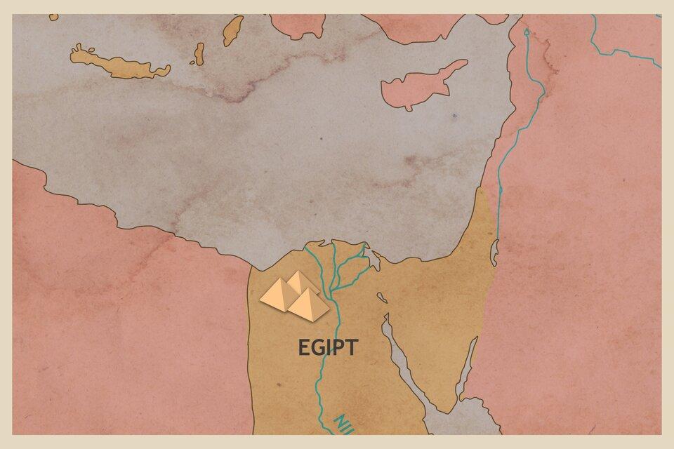 Mapa Egiptu zzaznaczonymi piramidami.