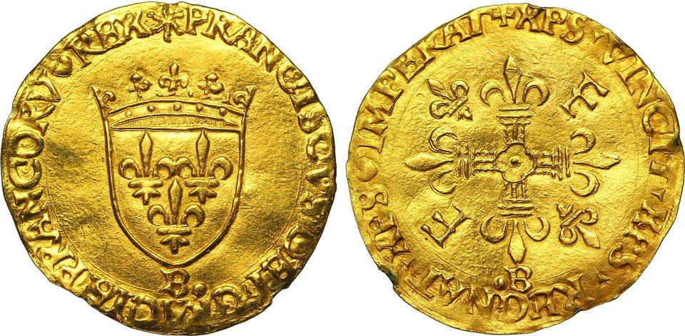 Francuska złota moneta – écu (denier d'or al'ecu, wskrócie Ecu d'or, czyli złota tarcza). Ostatnią monetę wybito w1793 r. Źródło: cgb.fr, Francuska złota moneta – écu (denier d'or al'ecu, wskrócie Ecu d'or, czyli złota tarcza). Ostatnią monetę wybito w1793 r. , licencja: CC BY-SA 3.0.