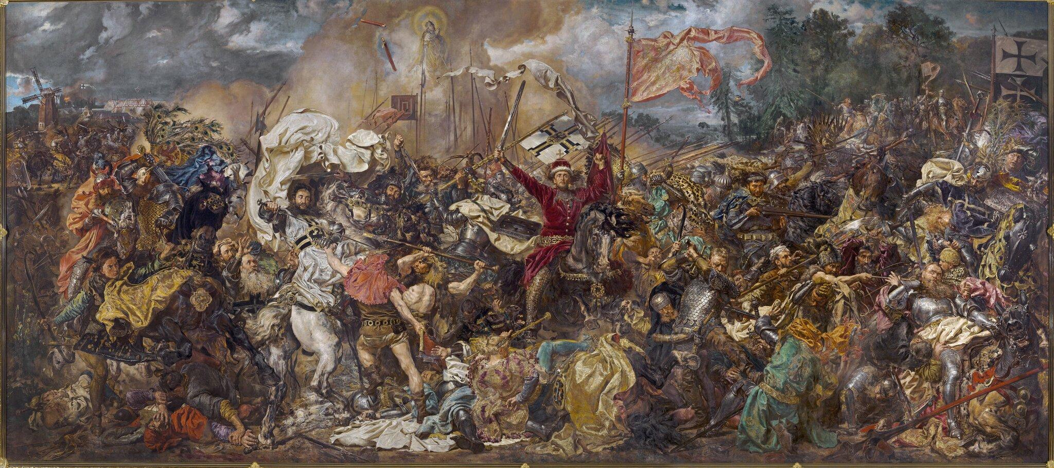 Jan Matejko, Bitwa pod Grunwaldem,1878 Jan Matejko, Bitwa pod Grunwaldem,1878 Źródło: olej na płótnie, Muzeum Narodowe wWarszawie, domena publiczna.