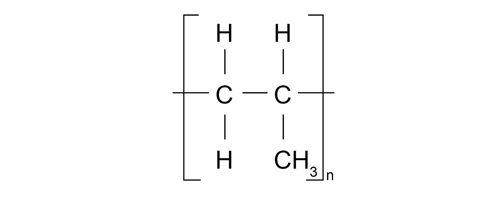 Ilustracja pokazuje wzór strukturalny polipropylenu.