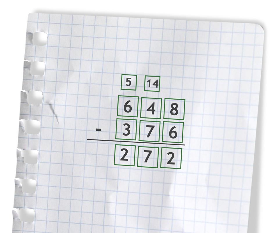 Przykład: 648 - 376 =272. Rozwiązanie zadania podpunkt b.