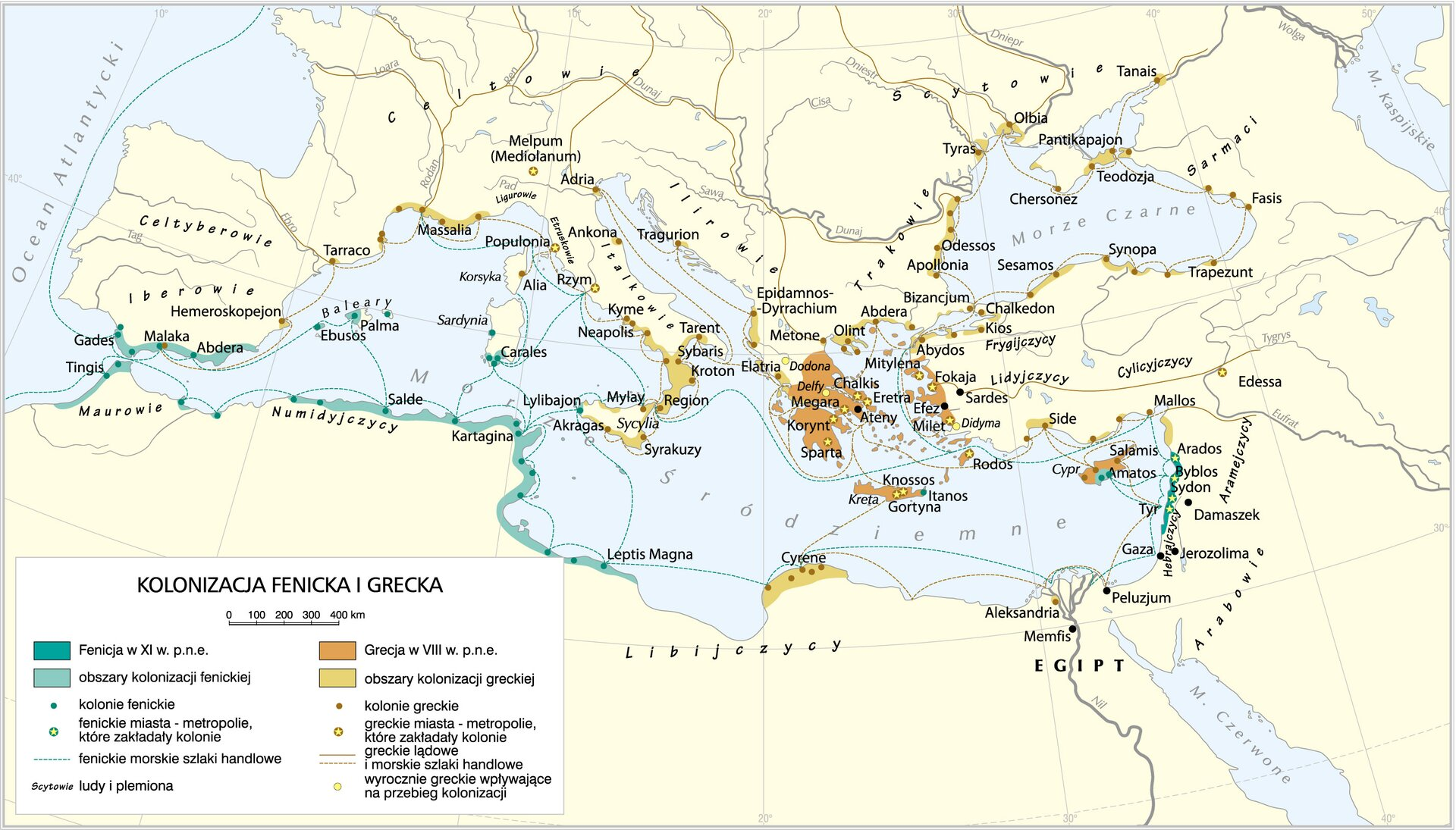Mapa przedstawiająca basem Morza śródziemnego iMorza Czarnego. Różnymi kolorami oznaczone są wokół tych mórz miejsca, wktórych Grecy zakładali swoje kolonie