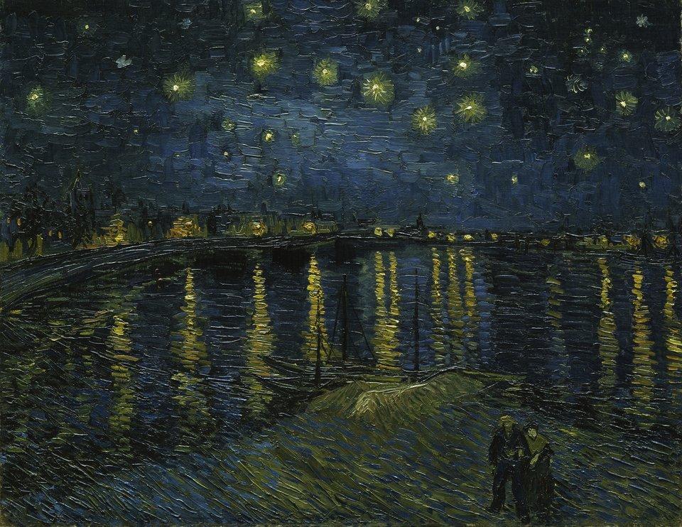 Gwiaździsta noc nad Rodanem Źródło: Vincent van Gogh, Gwiaździsta noc nad Rodanem , 1888, obraz olejny, domena publiczna.