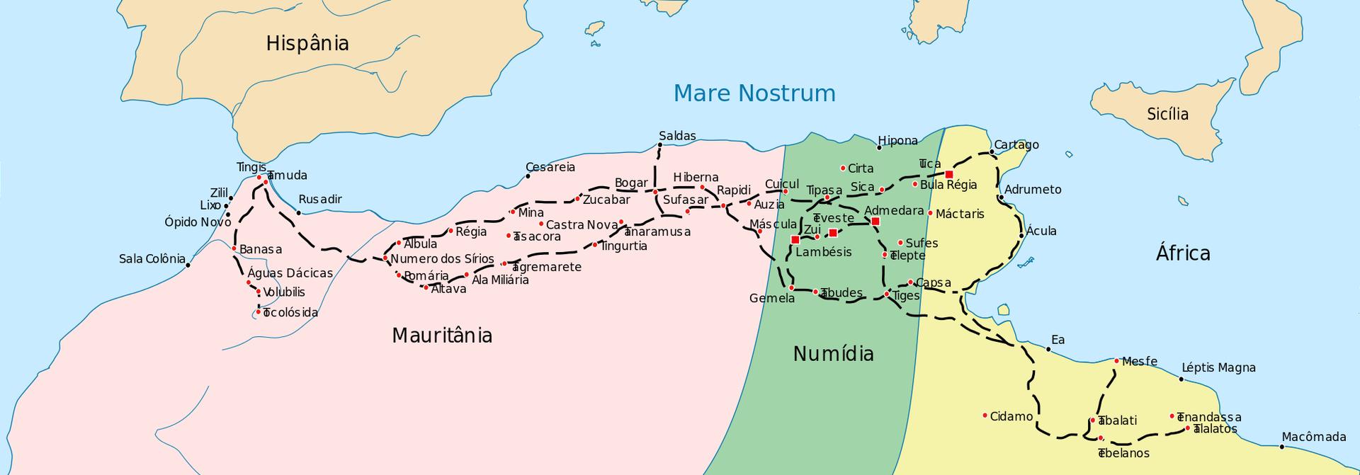 Ilustracja nieznanego autora przedstawia mapę, na której została pokazana Kartagina (fragment Afryki Północnej). Na mapie czerwonymi punktami zostały naniesione miasta, aczarną przerywaną linią oznaczone są drogi. Mapa Kartaginy składa się ztrzech części – kolor różowy to Mauritania, kolor zielony to Numidia, kolor żółty – rejon bez naniesionej nazwy. Wgórnej części mapy widoczne są południowe rejony Europy – Hiszpania oraz Sycylia.