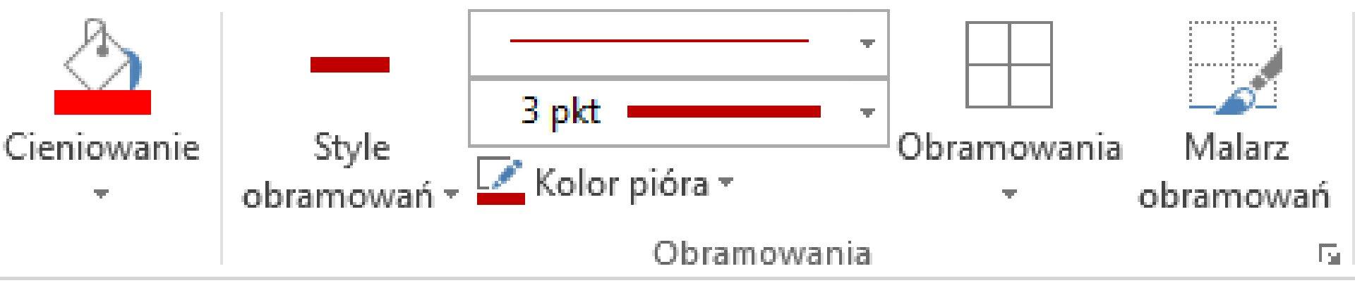 Zrzut fragmentu wstążki znarzędziami do formatowania tabeli wprogramie MS Word