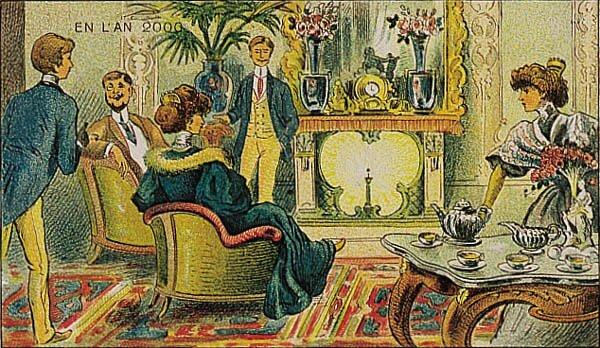 Francja wroku 2000. Kominek na rad Źródło: Villemard, Francja wroku 2000. Kominek na rad, 1910, domena publiczna.