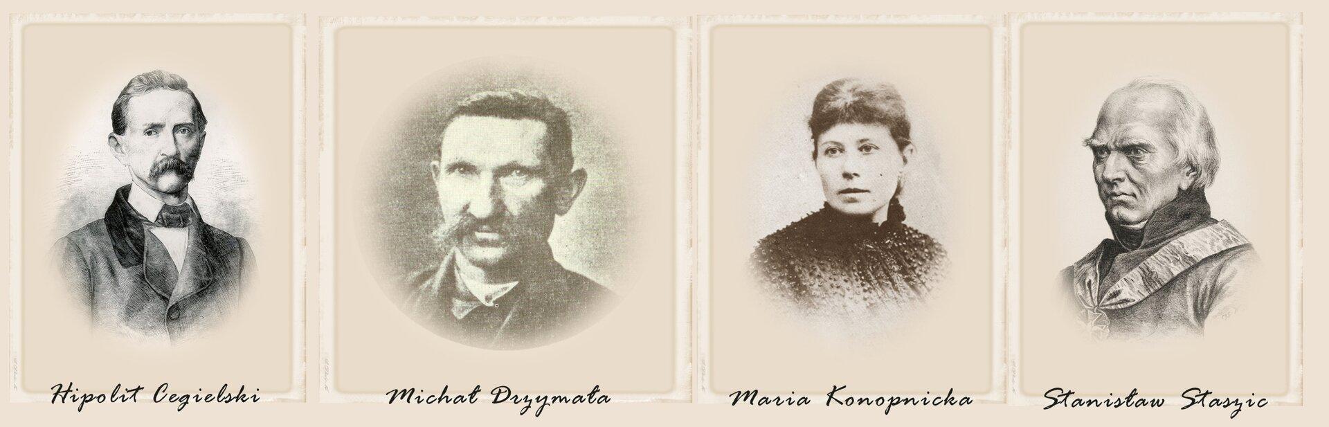Przykładowe portrety Polaków, którzy mimo działań państw zaborczych, potrafili odnieść sukces życiowy. Od lewej: Hipolit Cegielski, Michał Drzymała, Maria Konopnicka, Stanisław Staszic.