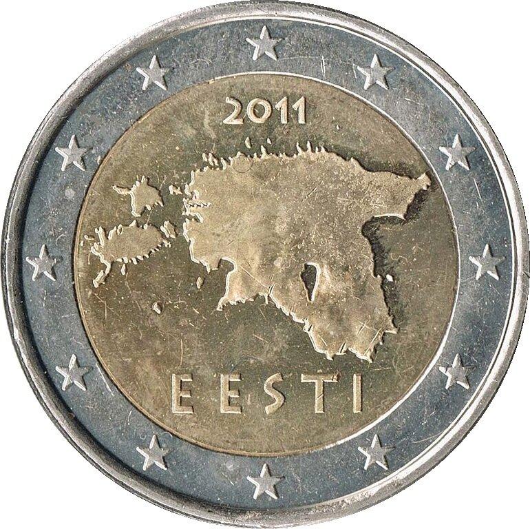 Estoński rewers 2 euro Źródło: Estoński rewers 2 euro, 2013, domena publiczna.