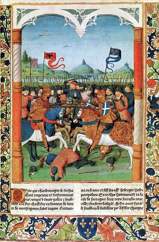 Bitwa wwąwozie Roncevaux, [w:] Wielkie Kroniki Francji Bitwa wwąwozie Roncevaux, [w:] Wielkie Kroniki Francji Źródło: Antoine Vérard, 1493, domena publiczna.