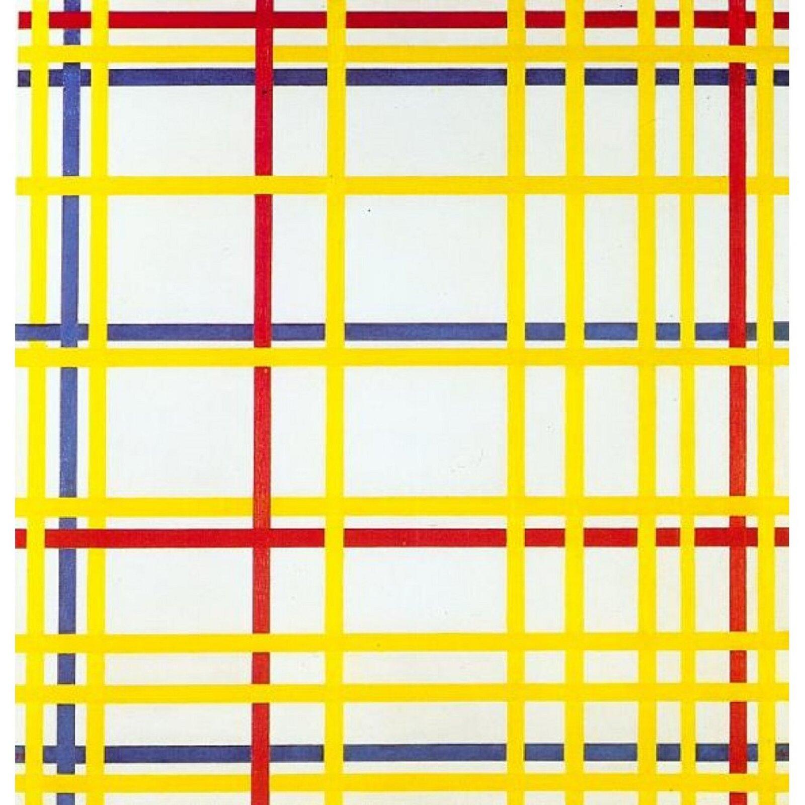 """Ilustracja przedstawia obraz Pieta Mondriana """"New York City I"""". Ukazuje przecinające się na białym tle linie wpodstawowych kolorach - żółtym, czerwonym iniebieskim. Linie przeplatają się ze sobą irozmieszczone są wpoziomie iwpionie. Malarz wten sposób niemal automatycznie wprowadził zwrotnice isugestię przeplatanych kolorowych pasm."""