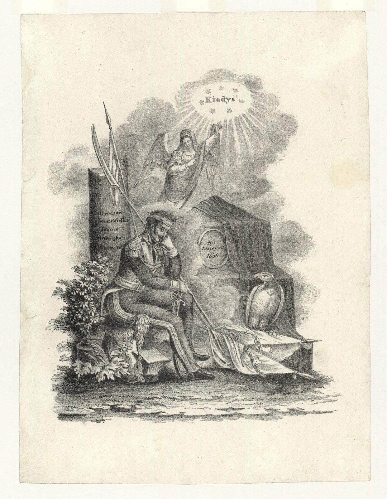 Alegoria upadku powstania listopadowego Źródło: autor nieznany, Alegoria upadku powstania listopadowego, ok. 1831, litografia, domena publiczna.