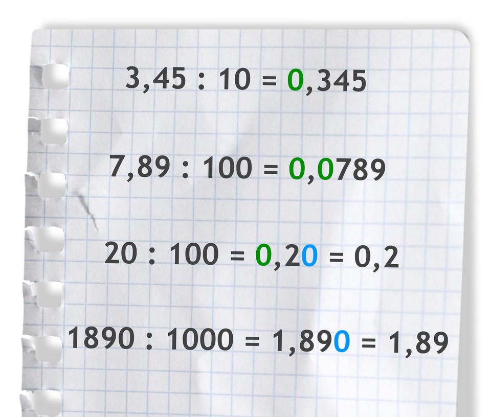 """""""Przykłady: 3,45 dzielone przez 10 =0,345"""