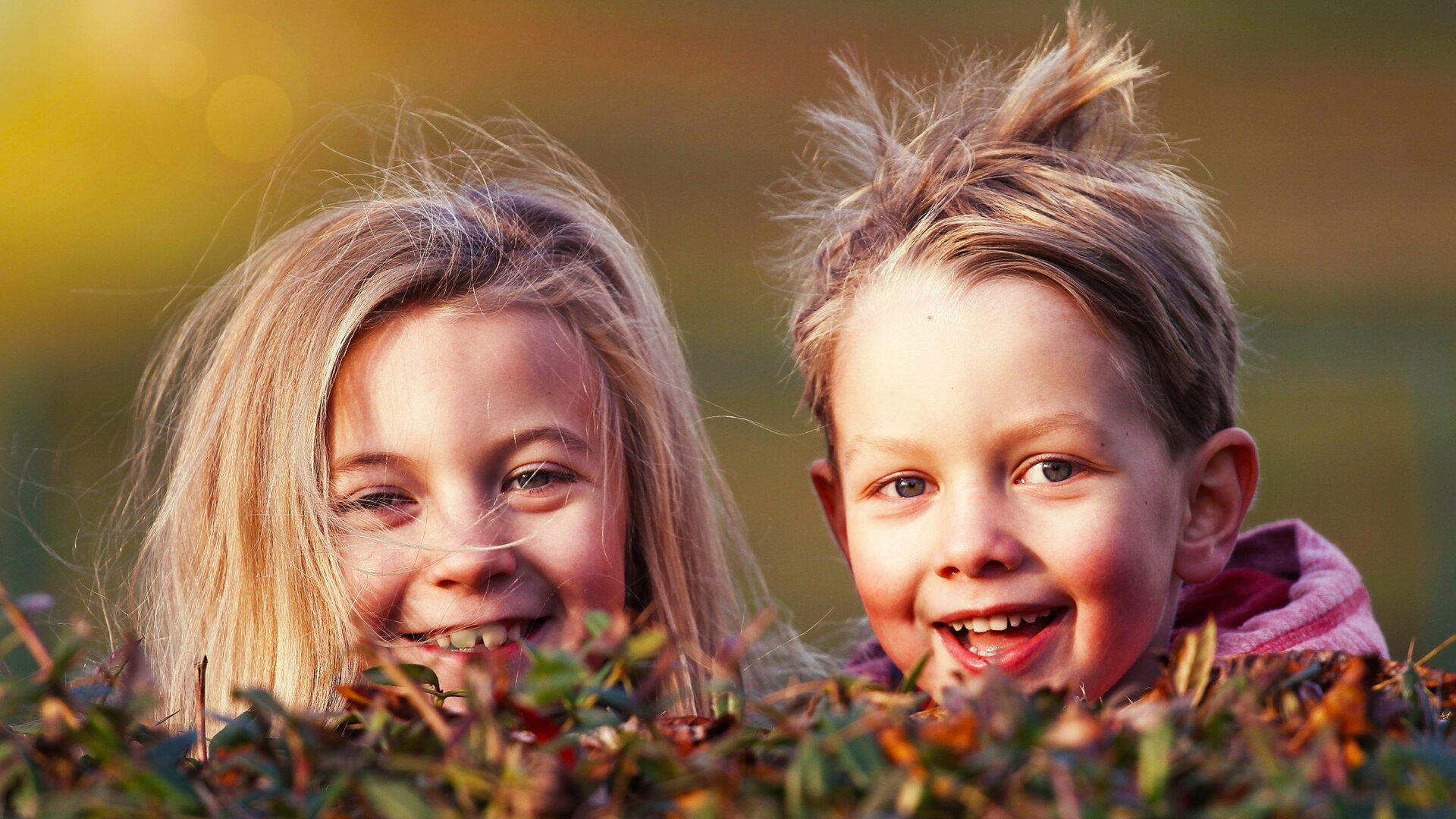 Ilustracja przedstawia dwoje uśmiechniętych dzieci wwieku około siedmiu lat chowających się za żywopłotem. Obydwoje mają blond włosy iniebieskie oczy. Są do siebie podobni. Być może są rodzeństwem. Jest pogodny, jesienny dzień.
