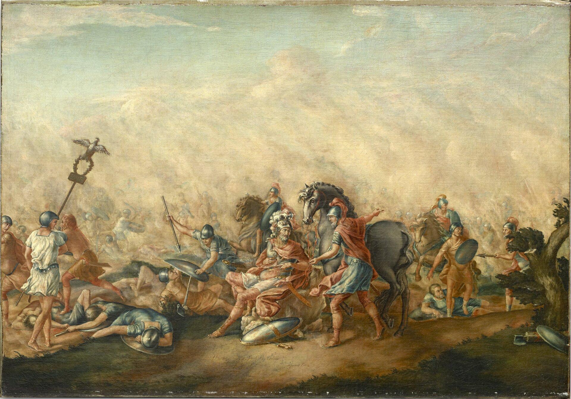 """Ilustracja przedstawia dzieło Johna Trumbulla pt. """"Śmierć Emiliusza Paulusa na polu bitwy"""". Ukazana jest scena zbitwy pod Kannami. Wcentrum obrazu znajduje się wódz rzymski (Warron?). Obok niego stoi ekwita zkoniem, wpełnym uzbrojeniu. Mówi do wodza, wskazując ręką wprawą stronę. Na drugim planie ukazani są walczący żołnierze. Wlewym rogu widnieje postać żołnierza rzymskiego wznoszącego wgórę insygnium legionów: orła trzymającego wieniec."""