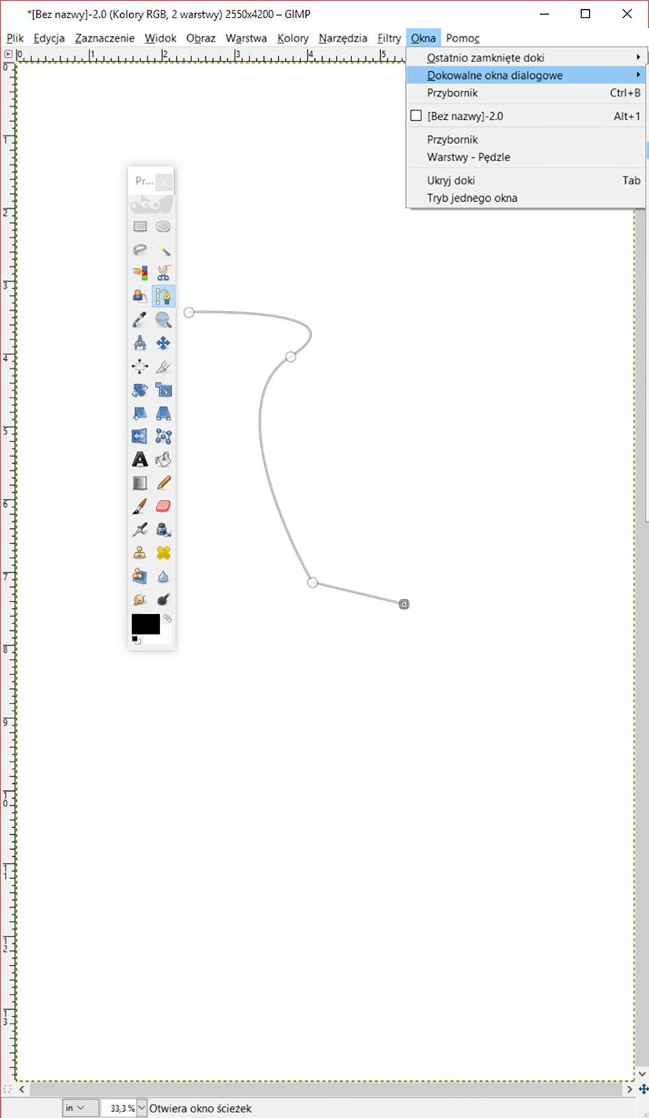 Ilustracja możliwości dokowania okien dialogowych wużywanej aplikacji