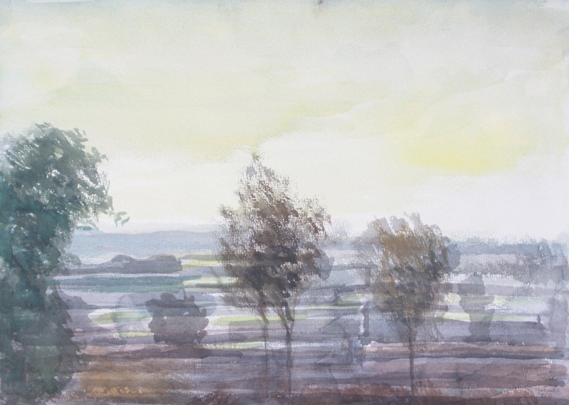 """Ilustracja przedstawia obraz """"Poranek"""" autorstwa Michała Trägera. Akwarela ukazuje krajobraz zdelikatnie zaznaczonymi drzewami ikrzewami na pierwszym planie. Woddali, artysta przy pomocy lekkich poziomych pociągnięć pędzla namalował pola. Nad horyzontem unoszą się biało-żółte chmury. Dół kompozycji utrzymany jest wchłodnej tonacji barw, natomiast góra wciepłej."""