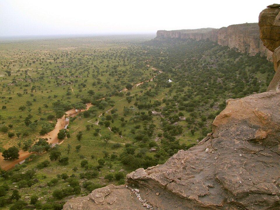 Na zdjęciu równinny teren porośnięty trawą, drzewa, zprawej strony wyniesienie, skaliste urwisko pozbawione roślinności.