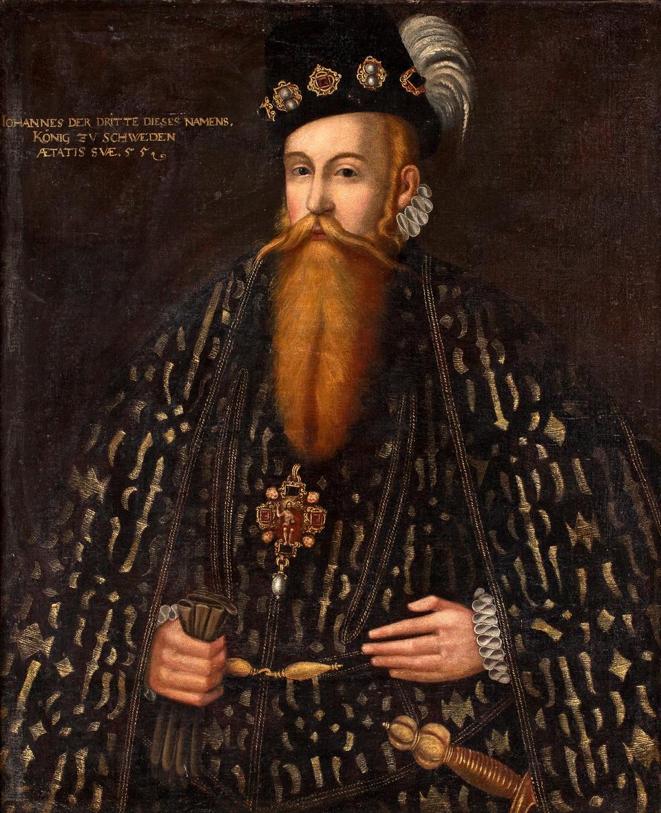 Jan III Waza Jan III Waza, król Szwecji. Syn Gustawa IWazy ijego drugiej żony Małgorzaty Leijonhufvud.W1562 rokupoślubił Katarzynę Jagiellonkę. Więziony przez przyrodniego brata, Eryka XIV. Uwolniony, obalił go iobjął tron. Wroku1587 zgodził się na elekcję syna Zygmunta na tron polski. Źródło: Jan Baptysta van Uther, Jan III Waza, ok. 1582 r., olej na płótnie, Nationalmuseum – szwedzka narodowa galeria sztuki wSztokholmie, domena publiczna.