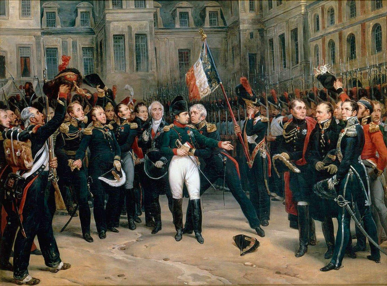 Pożegnanie Napoleona zgwardią imperialną (1814) Źródło: Antoine Alphonse Montfort, Pożegnanie Napoleona zgwardią imperialną (1814), XIX wiek, Palace of Versailles, domena publiczna.
